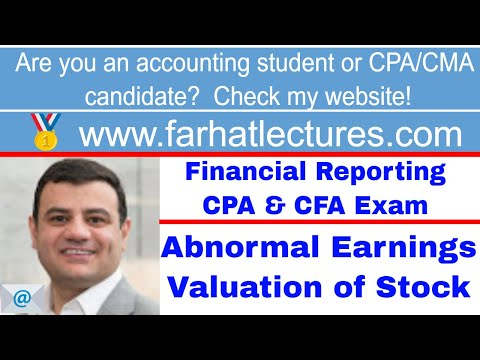 Abnormal earnings valuation of firm/stock CFA exam ch 6 p 2