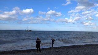 Массаж на пляже, октябрь в Лазаревском, погода, t +18°C, море t +24°C(, 2015-10-09T06:17:36.000Z)