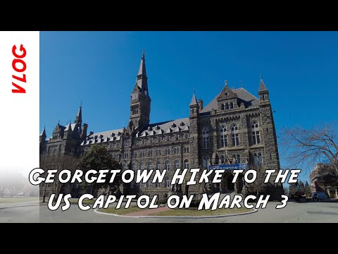 A hike from Georgetown to the Lincoln Memorial to the US Congress fence on March 3 in Washington DC