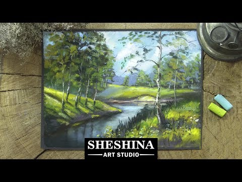 how-to-draw-a-landscape-with-birches-with-soft-pastels-🎨-landscapes
