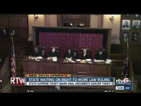 Court hears arguments on Indiana right-to-work law