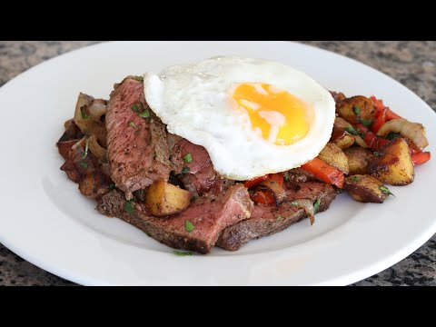 Steak And Eggs Hash With Baby Potatoes - Breakfast Recipe Cooked In Cast Iron Skillet