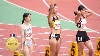 여자부 대학생과 고등학생의 100미터 달리기 모습