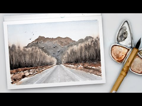 Loosen up your watercolor – loose landscape painting tutorial for beginners