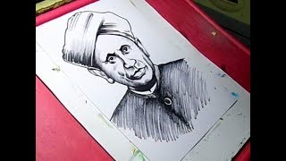 How to Draw Sir C V Raman Drawing for Kids