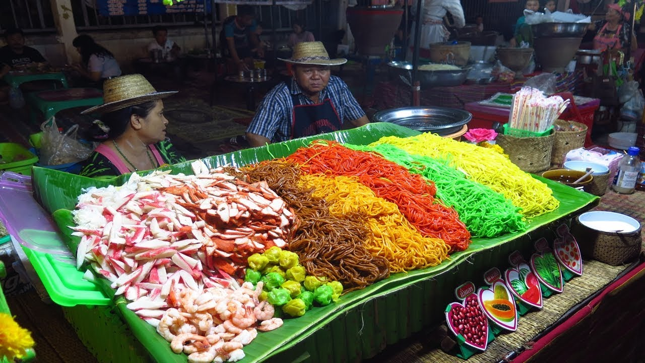 Thai Night Street Food Thai Market Of Khon Kaen Youtube