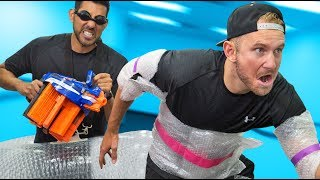 NERF Bubble Wrap Armor Challenge!