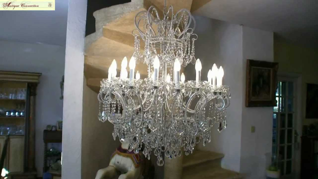 lustre argent en cristal de boh me youtube. Black Bedroom Furniture Sets. Home Design Ideas