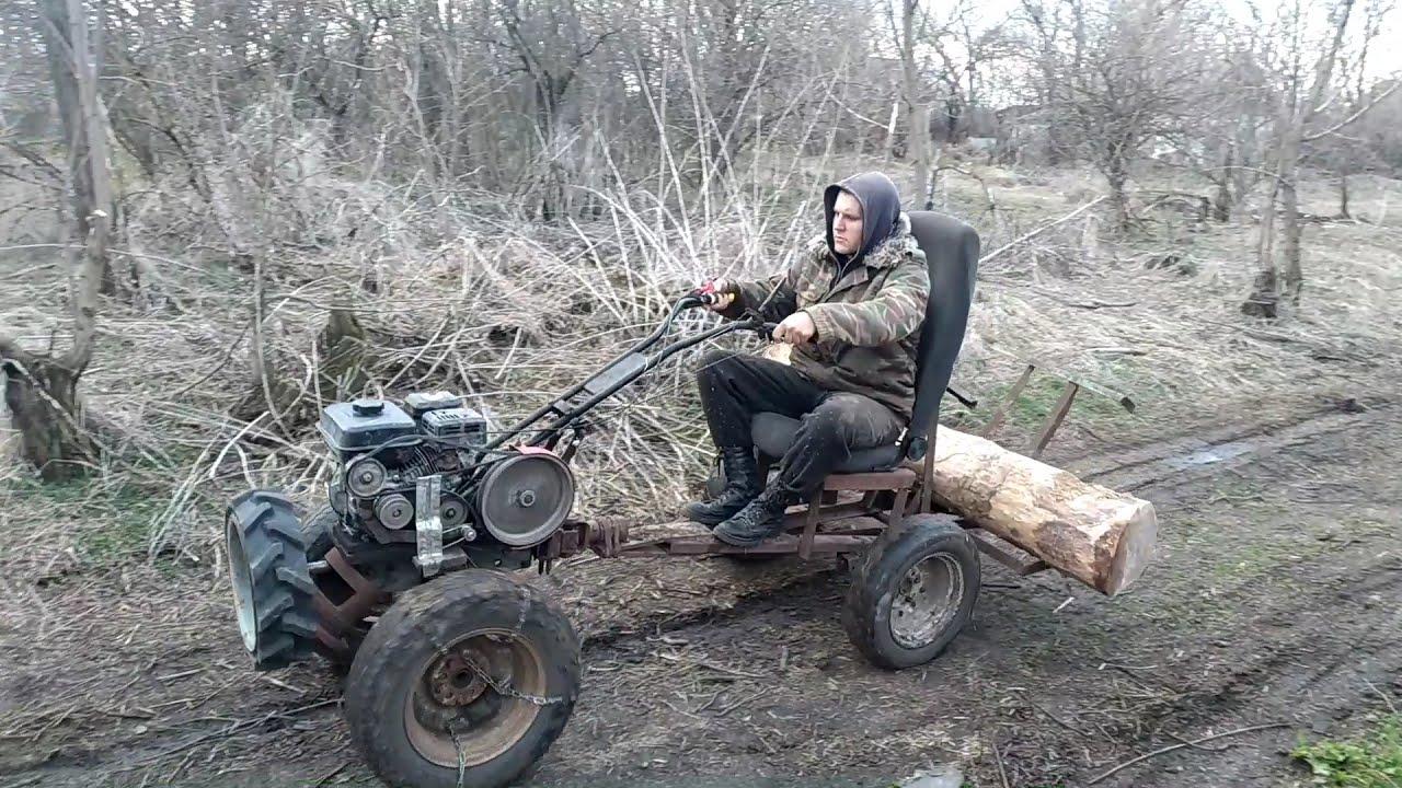 Мотоблок Ока зимой 2020 транспортные работы по перевозке леса. грязь прицеп дрова