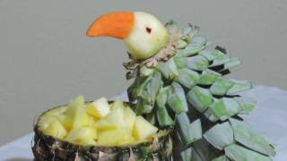 HOW TO MAKE A PARROT WITH PINEAPPLE - J.Pereira Art Carving Fruits and vegetables