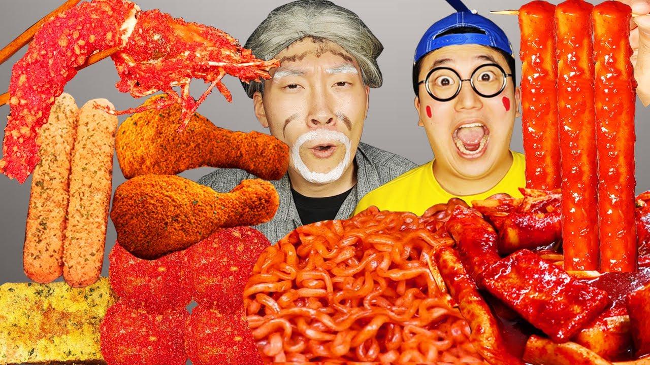 Download ASMR MUKBANG   RICE CAKE Tteokbokki, Fire Noodles, Giant Size fried chicken, corn dog recipe eating