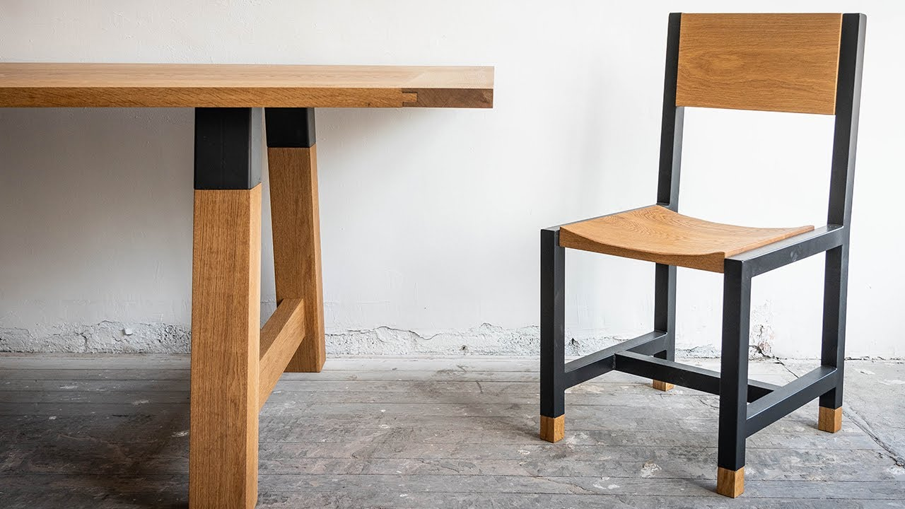 Epic Wood Metal Dining Table Chairs Build Youtube