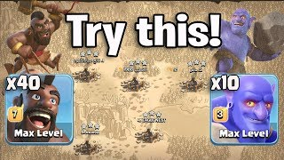 Try This! 40 Hogs 10 Bowler 5 Heal Spell Easy Smashing 3Star Any TH11 War Bases | Clash Of Clans War
