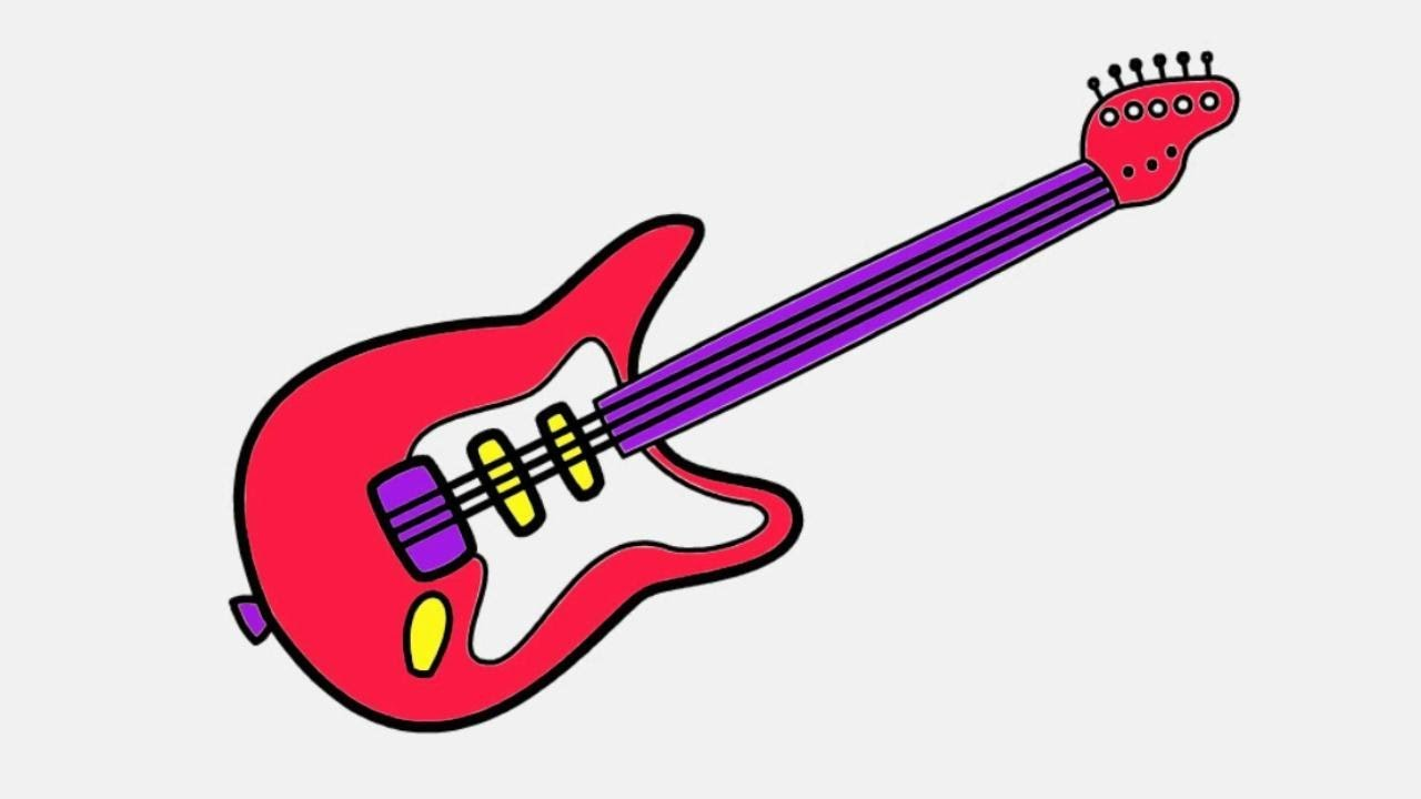 How to Draw a Guitar Coloring Page | Learn Guitar Drawing and ...