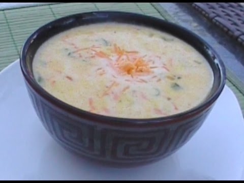 Easy Corn Soup with Shredded Carrots, Cheese, and Onion