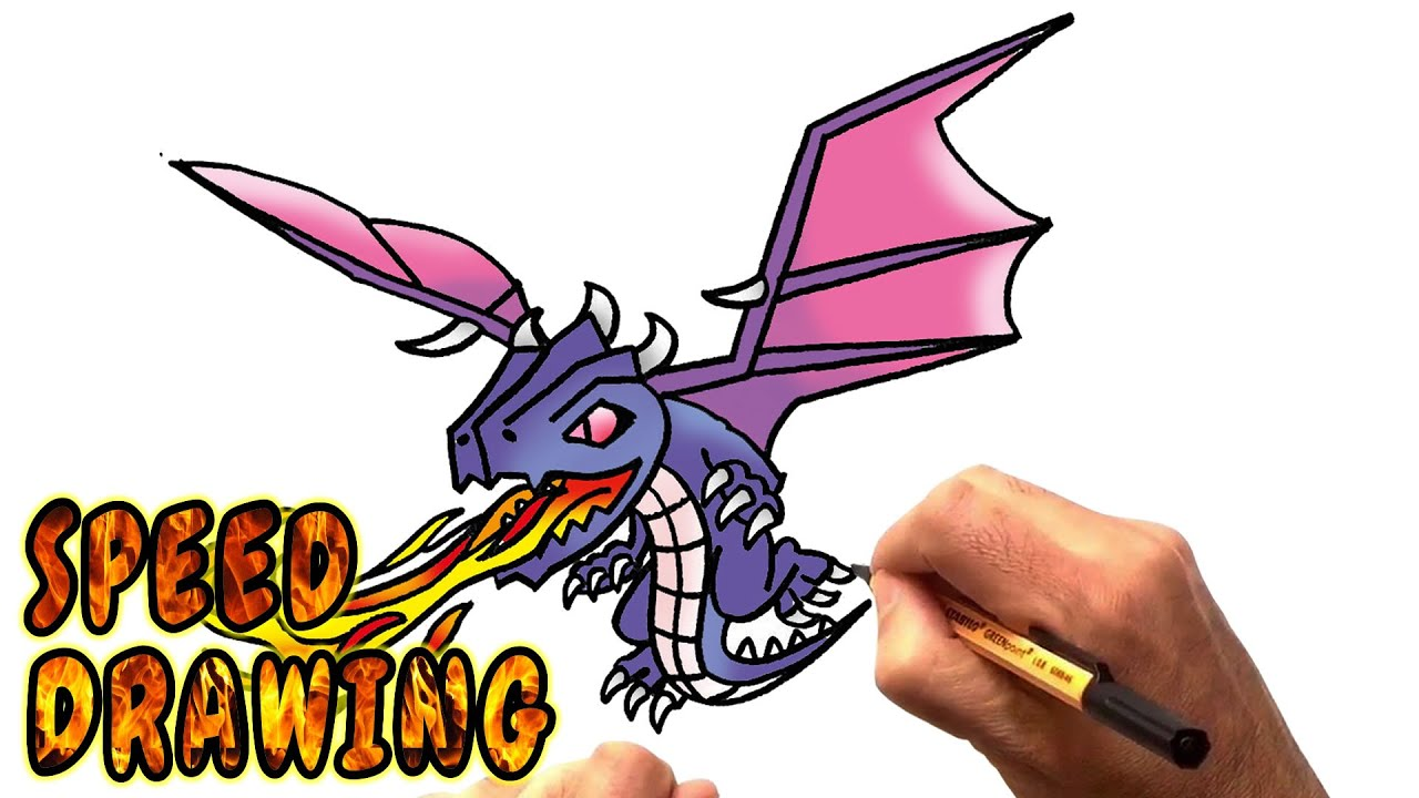 How To Draw Dragon From Clash Of Clans (speed Drawing)