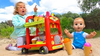 Milusik Lanusik Pretend Play with Ice Cream Food Cart Toy