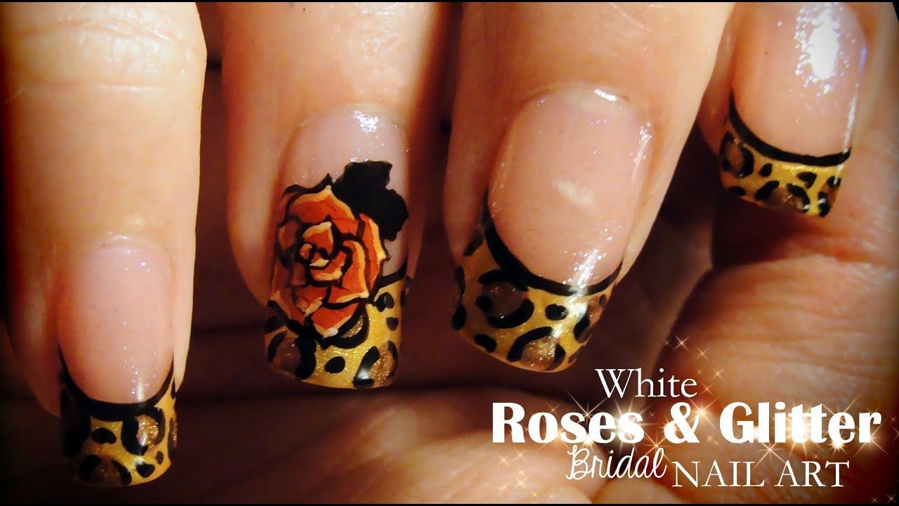 Leopard & Roses nail art - YouTube