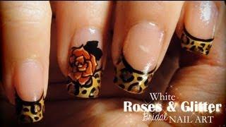 Leopard & Roses nail art