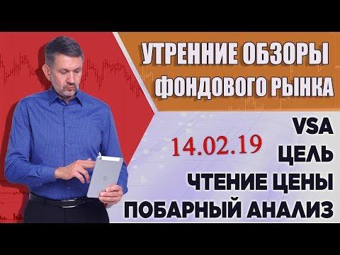 VSA, побарное чтение графиков. Обзор фондового рынка на 14 февраля 2019г.