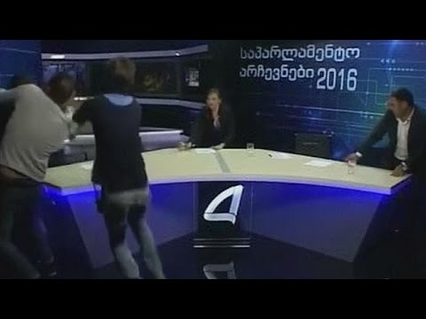 Georgian parliamentary candidates brawl on TV
