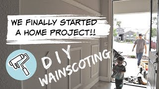 OUR FIRST HOME PROJECT! ENTRY WAY TRANSFORMATION! DIY WAINSCOTING!