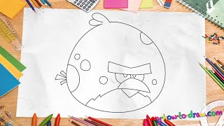 How to draw Angry Birds Terence - Easy step-by-step drawing lessons for kids