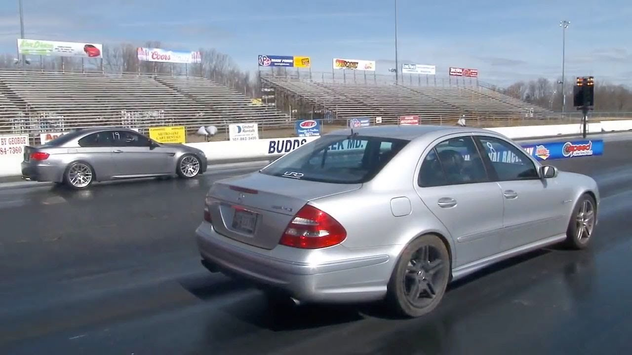 2006 Mercedes-Benz E55 AMG 1/4 mile Drag Racing runs 10's - YouTube