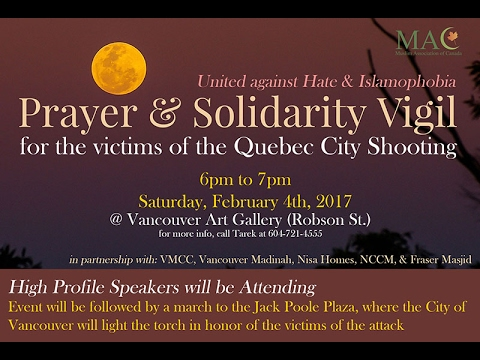 HiMY SYeD -- United Against Hate & Islamophobia, Vancouver Art Gallery, 6-7 p.m. Sat February 4 2017