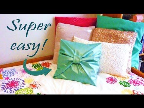 diy-room-decor-❤-no-sew-bow-pillow-cover