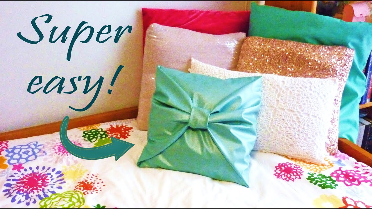 How To Make Throw Pillow Covers By Hand : DIY ROOM DECOR No-sew bow PILLOW COVER - YouTube