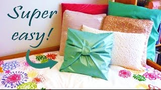 Diy Room Decor ❤ No-sew Bow Pillow Cover