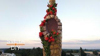 Декор бутылки из яичных лотков имитация камня своими руками мастер класс от Sveta DIY