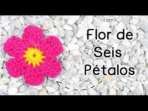 FLOR DE SEIS PÉTALOS A CROCHET (I) | Patrones Valhalla - YouTube