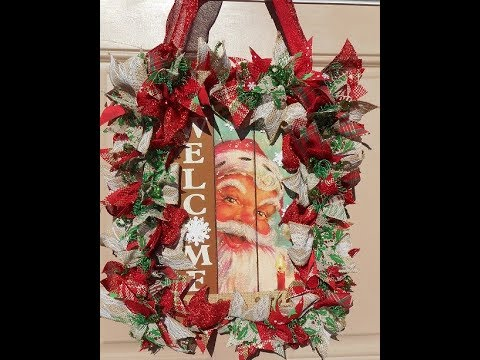 Diy Christmas Scrap Wreath Welcome Sign Using Dollar Tree Ribbon And