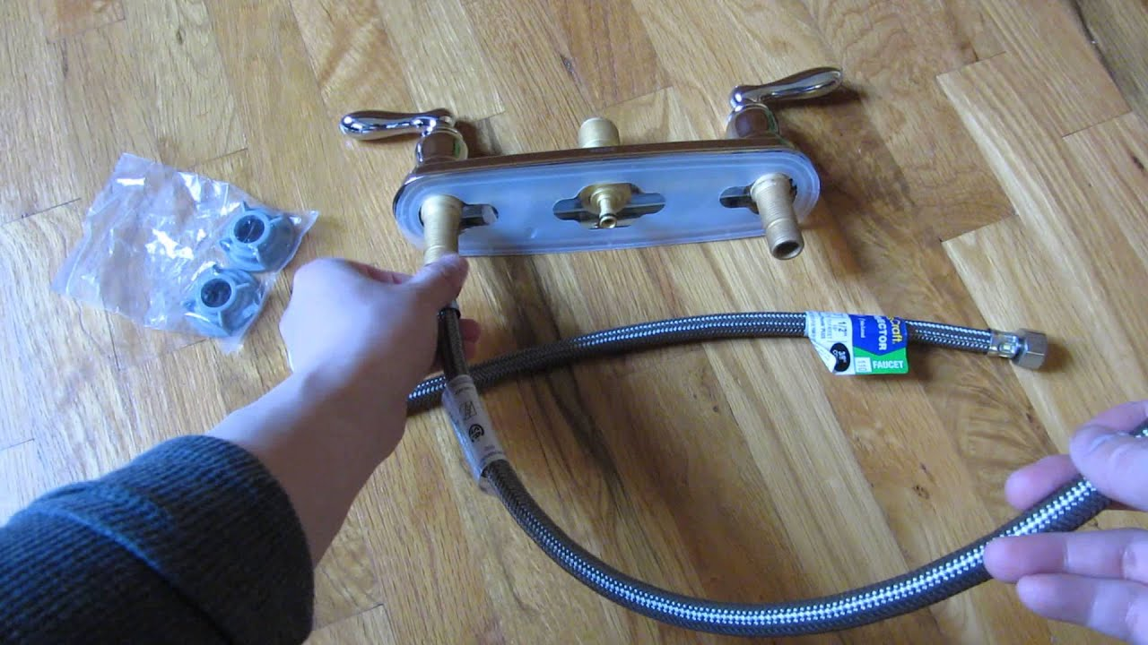"installing kitchen faucet 1/2"" to 3/8"" supply lines hoses - youtube"