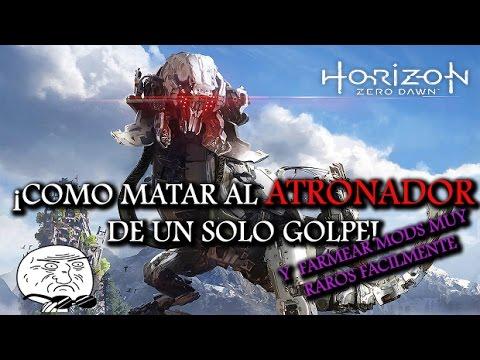 Como Vencer Un Atronador De Un Solo Golpe En Horizon Zero Dawn | Farmear Mods Muy Raros Facil! 😱