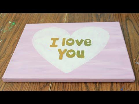 DIY Room Decor   Valentines Day Canvas Art