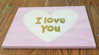 DIY Room Decor | Valentines Day Canvas Art