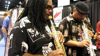 ALPHONSE MOUZON AND AZAR LAWRENCE PLAYS A SOPRANO SAX DUET AT NAMM 1-17- 09