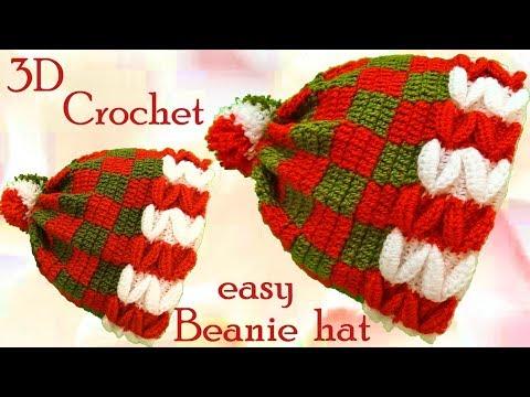 Gorro a Crochet en punto 3D dulces de Navidad  tejido tallermanualperu