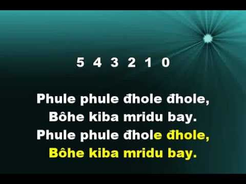 PHULE PHULE DHOLE DHOLE, Graphics Enhanced Karaoke in Wiki-Bengali Script  of a Tagore-song