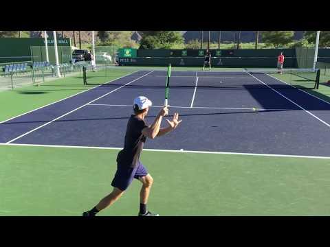 David Goffin / Karen Khachanov (60 fps) 2017 Indian Wells Practice 3/6/17 BNP Paribas Open
