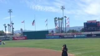 Sami jae singing national anthem for the San Jose giants