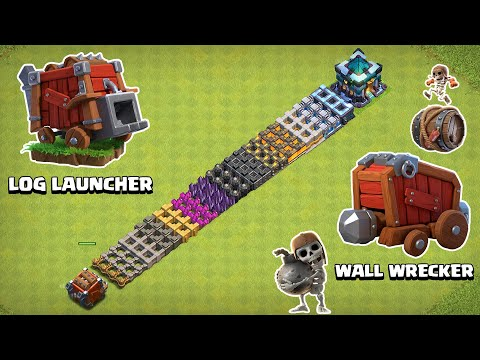 LOG LAUNCHER VS WALL WRECKER VS EVERY LEVEL WALL | CLASH OF CLANS - COC Reality