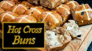 Hot cross buns, no knead, easy step by step instructions.