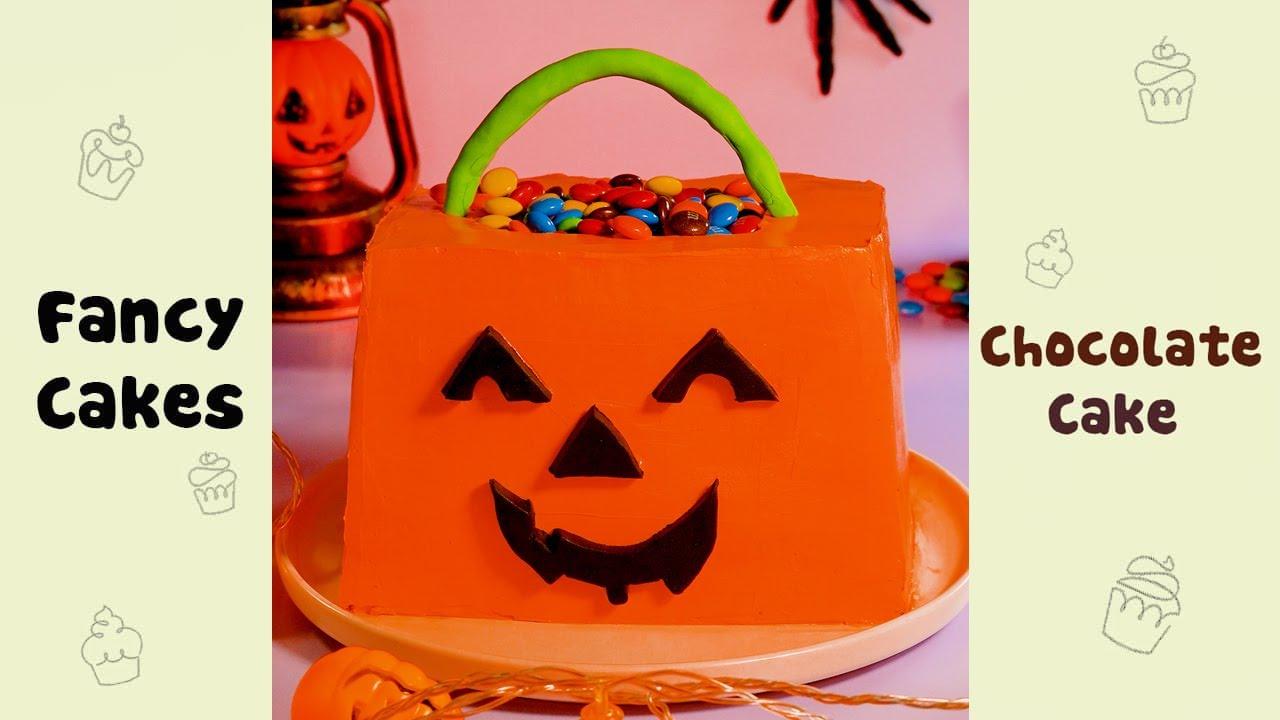 Halloween Pumpkin Cake Decorating Idea #shorts#yumupcakes