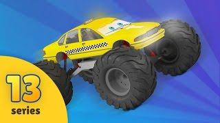 Tuning in Monster Truck garage   Monster Truck Race   New Monster Truck Adventures   EPISODE 13