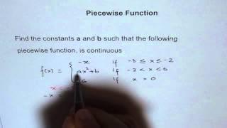 العثور على a و b على Piecewise وظيفة أن تكون مستمرة