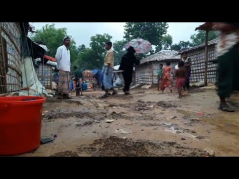 First monsoon rains pound Rohingya camps